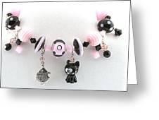 Handmade Glass Lampwork Black And Pink Cat Bracelet Greeting Card