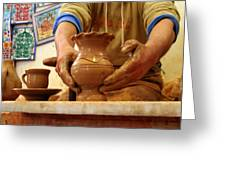 Hands Of The Potter Greeting Card