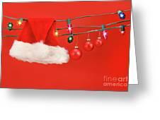 Hanging Lights With Santa Hat Greeting Card