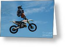 Hanging On Motorcycle Tricks  Greeting Card
