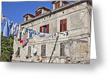 Hanging Out To Dry In Rovinj Greeting Card