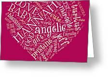 Hannah Heart Fuschia Greeting Card