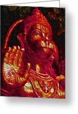 Hanuman The Monkey King Greeting Card by Naresh Ladhu