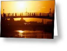 Hapenny Bridge Over River Liffey River Greeting Card