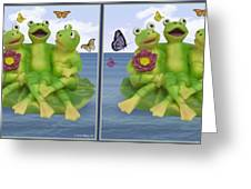 Happy Frogs - Gently Cross Your Eyes And Focus On The Middle Image Greeting Card