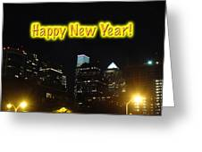 Happy New Year Greeting Card - Philadelphia At Night Greeting Card