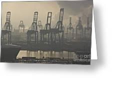 Harbor Cranes Greeting Card