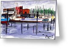 Harbor Fishing Boats Greeting Card