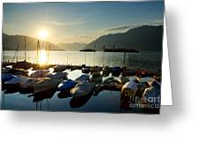 Harbor In Sunrise Greeting Card