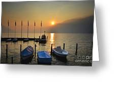 Harbor On A Foggy Lake Greeting Card