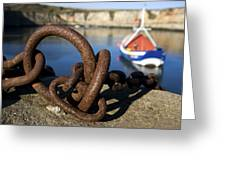 Harbour With Mooring And Fishing Boat Greeting Card by John Short
