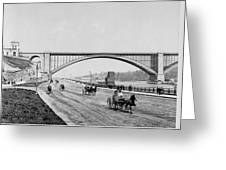 Harlem River Speedway Scene Beneath The George Washington Bridge Greeting Card