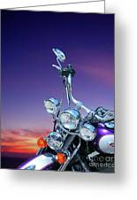 Harley Sunset Greeting Card