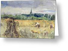 Harvest Field At Stratford Upon Avon Greeting Card