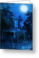 Haunted House Full Moon Greeting Card by Jill Battaglia