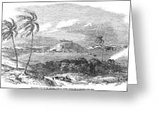 Havana, Cuba, 1851. /na View Of The Harbor And Fort Of Atares. Wood Engraving, English, 1851 Greeting Card