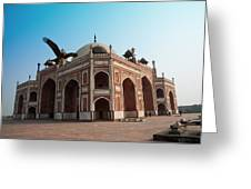 Hawk Flying Next To Humayun Tomb Delhi Greeting Card