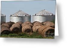 Hay And Grain Bins Greeting Card