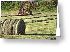 Hay Bale And Tractor Greeting Card
