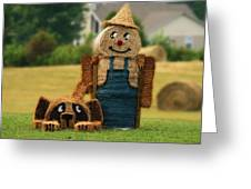 Hay Bale Farmer And Dog  Greeting Card