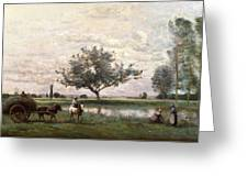 Haycart Beside A River  Greeting Card