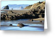 Haystack Rock From Arcadia Beach Greeting Card
