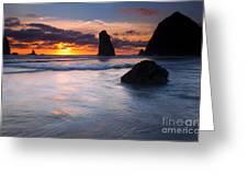 Haystack Sunset Greeting Card
