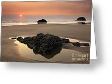 Hazy Oregon Sunset Greeting Card