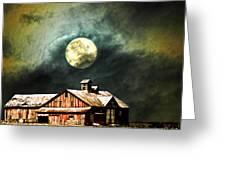 Hdr Moon And Barn Greeting Card
