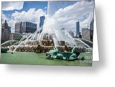 Hdr Picture Of Buckingham Fountain And Chicago Skyline Greeting Card