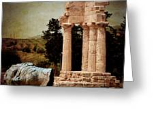 Head At Temple Of Castor And Pollux Greeting Card