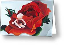 Healing Painting Baby Sitting In A Rose Greeting Card