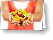 Healthy Fruit Salad Greeting Card by Anna Om