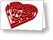Heart Maze, Computer Artwork Greeting Card