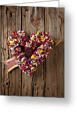 Heart Wreath With Weather Vane Arrow Greeting Card