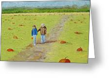 Heather And Poppy Pumpkin Picking Greeting Card