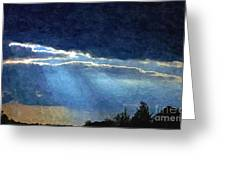 Heaven Opening To Let Out The Sun Painterly Style Greeting Card