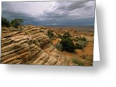Heavy Clouds Over A Rocky Desert Greeting Card