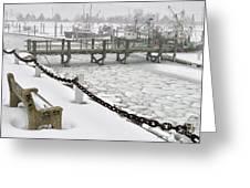 Heavy Snow Falls At Sandwich Marina In Sandwich On Cape Cod Greeting Card