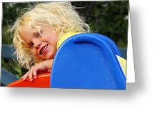Helena On The Slide Greeting Card