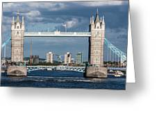 Helicopters And Tower Bridge Greeting Card