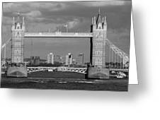 Helicopters Flying Through Tower Bridge Greeting Card