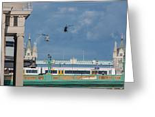 Helicopters Tower Bridge Greeting Card