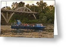 Hellgate Jet Boat And Caveman Bridge Greeting Card