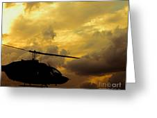 Helocopter In Clouds Greeting Card