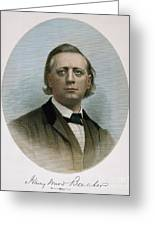 Henry Ward Beecher (1813-1887). American Clergyman. At Age 50: Steel Engraving, 19th Century Greeting Card