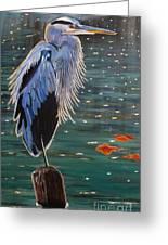 Heron In Blue Greeting Card