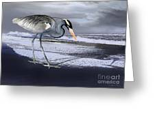 Heron Taking His Afternoon Beach Walk Greeting Card by Danuta Bennett