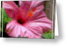 Hibiscus With A Blurred Enamel Effect Greeting Card