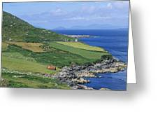 High Angle View Of A Coastline, Beara Greeting Card